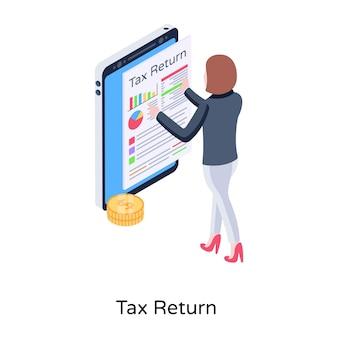 Ikona koncepcji izometrycznej zwrotu podatku w edytowalnym stylu