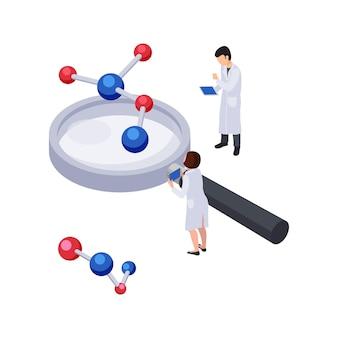 Ikona koncepcji przyszłej technologii z lupą i cząsteczkami izometrycznych postaci ludzkich