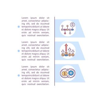 Ikona koncepcji stałych i zmiennych kosztów ogólnych z tekstem. koszty produkcji dla przedsiębiorstw. szablon strony ppt.