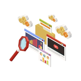 Ikona koncepcji strategii marketingowej z izometrycznymi elementami pulpitu wykresy wideo lupa 3d