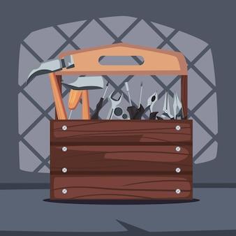 Ikona konstrukcji drewnianej skrzynki narzędziowej