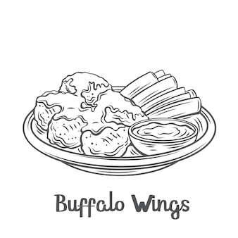 Ikona konturu buffalo wings. narysowane pieczone skrzydełka z kurczaka z łodygami selera na talerzu i sosem.