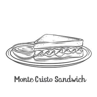 Ikona konturu kanapki monte cristo. rysowana trójkątna wysoka kanapka z grillowanym serem i szynką, smażona w jajku na talerzu z dżemem.