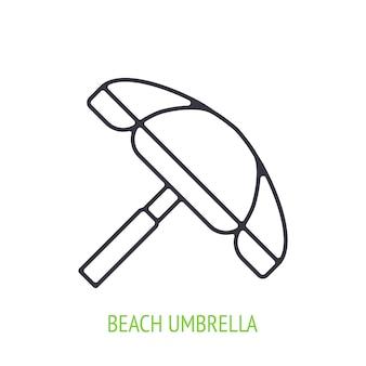 Ikona konturu parasol plażowy ilustracja wektorowa symbol letniej podróży i relaksu w kurorcie