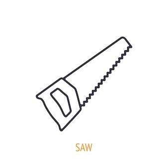 Ikona konturu piły ręcznej ilustracja wektorowa narzędzia i przyrząd do pracy ręcznej