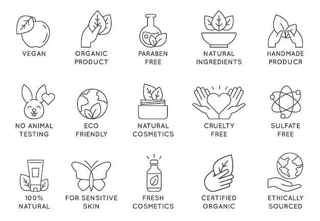 Ikona kosmetyki organiczne. ekologiczne plakietki z linii cruelty free dla produktów kosmetycznych i wegańskiej żywności. nie testowane na zwierzętach, naturalne ikony wektor zestaw. dla wrażliwej skóry, kolekcja pozyskiwana etycznie