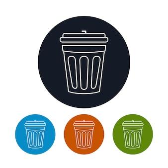 Ikona kosza na śmieci, cztery rodzaje kolorowych okrągłych ikon kosza na odpady, ilustracji wektorowych