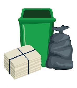 Ikona kosza na śmieci i worek