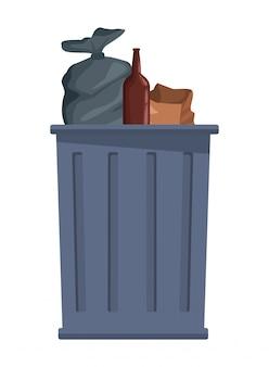 Ikona kosza na śmieci ikona kreskówka