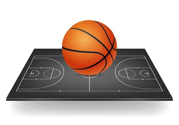 Ikona koszykówki - piłka na czarnym boisku.