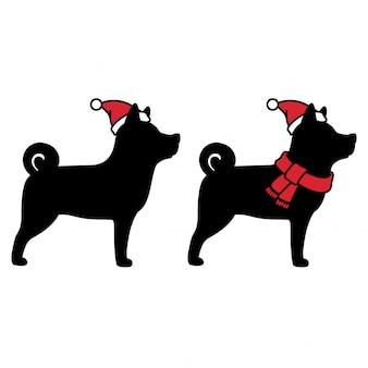 Ikona kreskówka boże narodzenie pies