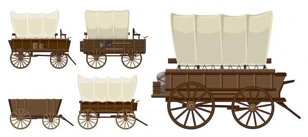 Ikona kreskówka na białym tle dziki zachód wagon.