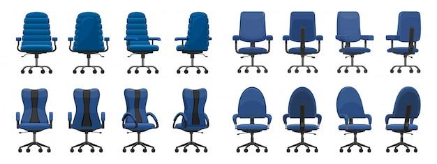 Ikona kreskówka na białym tle krzesło biurowe