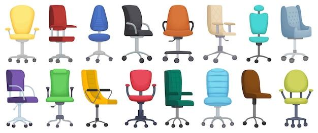 Ikona kreskówka na białym tle krzesło biurowe.