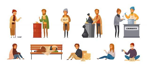 Ikona kreskówka na białym tle osób bezdomnych z różnych płci wieku i rodzajów osób bezdomnych