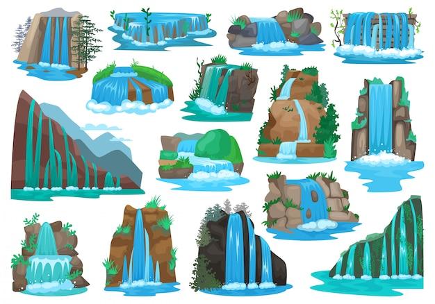Ikona kreskówka na białym tle wodospad. ikona kreskówka zestaw kaskady rzeki.
