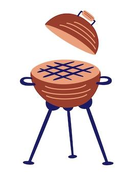 Ikona kreskówka okrągły grill grill. symbol grilla. gotowanie na zewnątrz. urządzenie do grillowania żywności. uliczne jedzenie. ilustracja wektorowa.
