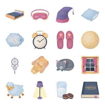 Ikona kreskówka snu i odpoczynku. ikona kreskówka na białym tle zestaw marzeń. ilustracja spać i odpoczywać.