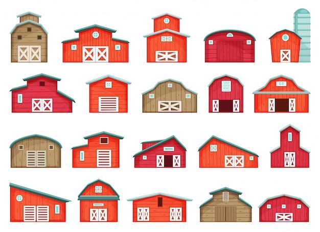 Ikona kreskówka stodoła. kreskówka na białym tle zestaw ikona spichlerz.