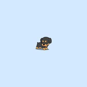 Ikona kreskówka szczenię ładny rottweiler