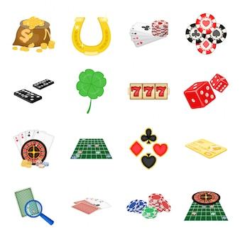 Ikona kreskówka zestaw kasyn. na białym tle kreskówka zestaw ikona gry w pokera. kasyno.