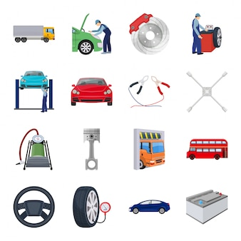 Ikona kreskówka zestaw stacji samochodowej. kreskówka na białym tle ikona auto serwis. stacja samochodowa.