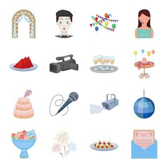 Ikona kreskówka zestaw usług zdarzeń. ilustracja usługi biznesowe. na białym tle kreskówka zestaw ikona imprezy firmowej.