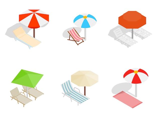 Ikona krzesło plaży zestaw na białym tle