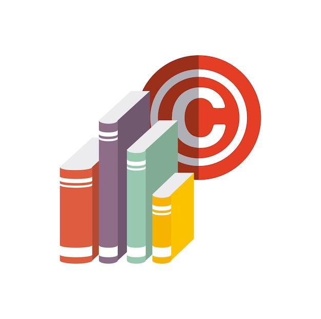 Ikona książki i c. projekt praw autorskich. grafika wektorowa