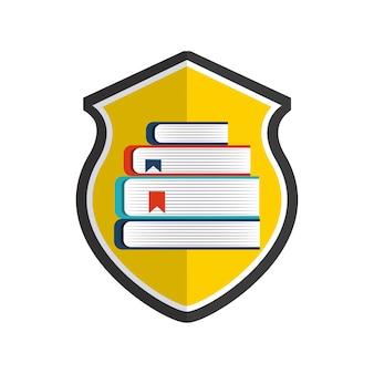 Ikona książki i tarczy. projekt praw autorskich. grafika wektorowa