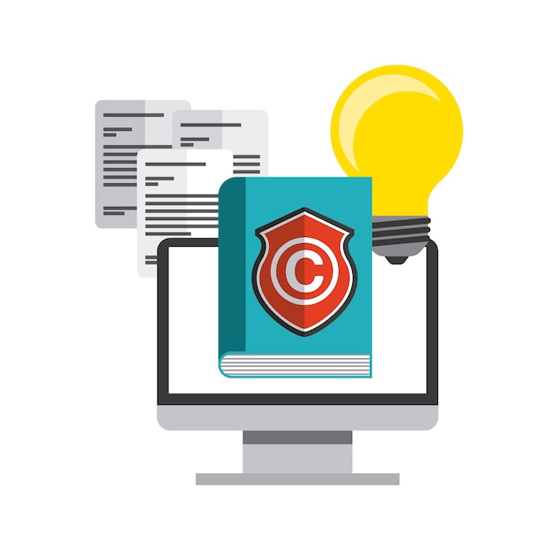 Ikona książki, komputera i c. projekt praw autorskich. grafika wektorowa