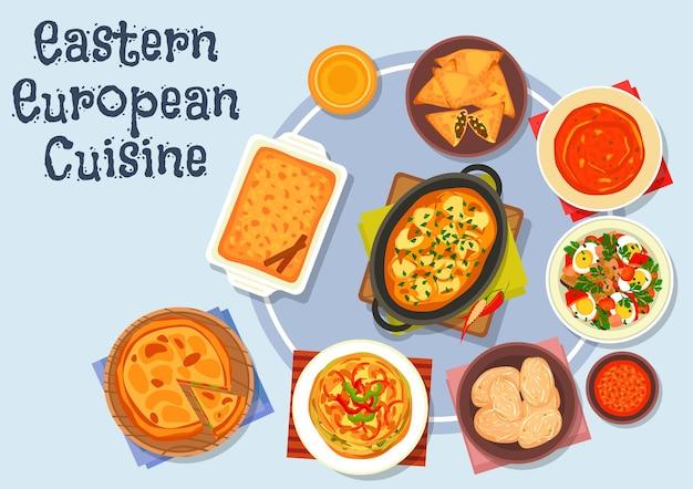Ikona kuchni wschodnioeuropejskiej z kluskami ziemniaczanymi w sosie mięsnym, surówka jajeczna, ziemniak gotowany, omlet z papryką, placek z mięsem smażonym, zupa pomidorowa, placek warzywny, ciasto jabłkowo-cynamonowe
