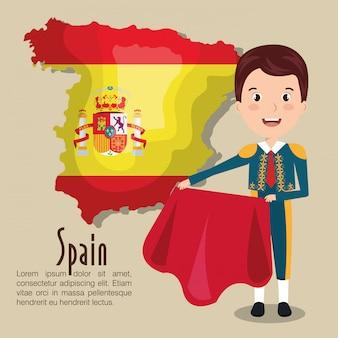 Ikona kultury hiszpańskiej na białym tle projekt ikony