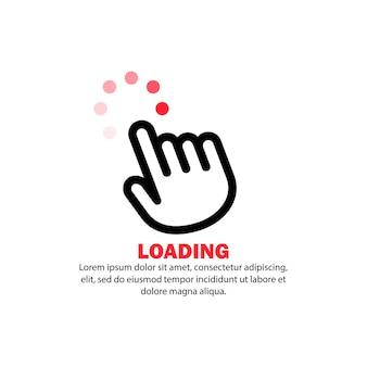 Ikona kursora dłoni. ładowanie znak. komputer za pomocą koncepcji. wektor na na białym tle. eps 10.