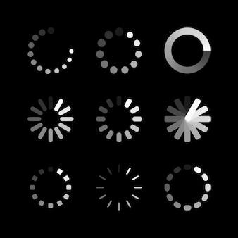 Ikona ładowania. program ładujący bufor lub preloader strony internetowej circle. wektor zestaw ikon stanu pobierania lub przesyłania. ilustracja wektorowa.