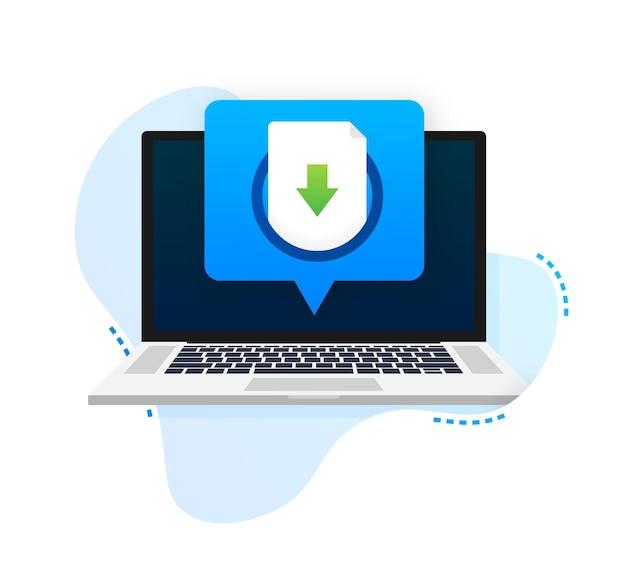 Ikona laptopa i pliku do pobrania koncepcja pobierania dokumentu