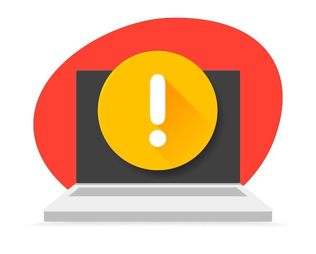 Ikona laptopa z wykrzyknikiem na ekranie. ilustracje. powiadomienie. wiadomość z wykrzyknikiem. ostrzeżenia, alarmy, krytyczne pojęcia błędów.