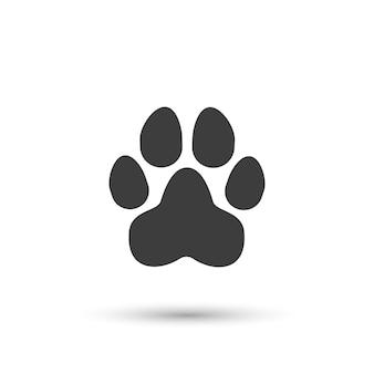 Ikona łapy psa prosty ślad zwierzęcy kot lub szczeniak czarny znak łapy z kreskówek