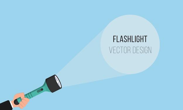 Ikona latarki do reklamy i tekstu. miejsce na twój tekst. ręka z trzymającą latarką i wiązką światła projekcyjnego w płaskiej konstrukcji. ilustracja.