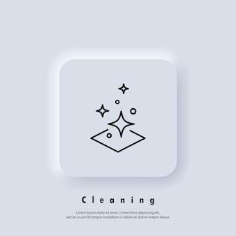 Ikona łatwego czyszczenia. logo czystej powierzchni. logo czyszczenia. wektor. ikona interfejsu użytkownika. biały przycisk sieciowy interfejsu użytkownika neumorphic ui ux. neumorfizm