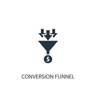 Ikona lejka konwersji. prosta ilustracja elementu. projekt symbolu koncepcji lejka konwersji. może być używany w sieci i na urządzeniach mobilnych.