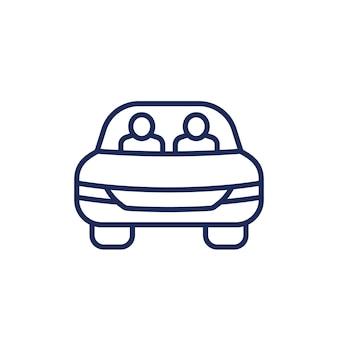 Ikona linii carpool na białym