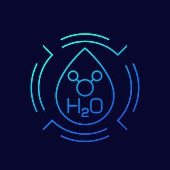 Ikona linii h2o z kroplą wody i cząsteczką, wektor