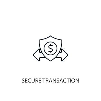 Ikona linii koncepcja bezpiecznej transakcji. prosta ilustracja elementu. koncepcja bezpiecznej transakcji zarys symbolu projektu. może być używany do internetowego i mobilnego interfejsu użytkownika/ux