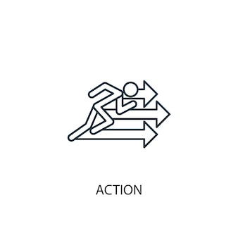 Ikona linii koncepcja działania. prosta ilustracja elementu. koncepcja działania symbol zarys projektu. może być używany do internetowego i mobilnego interfejsu użytkownika/ux