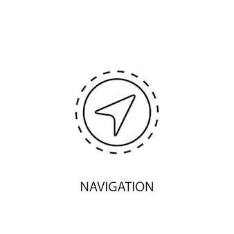 Ikona linii koncepcja nawigacji. prosta ilustracja elementu. projekt symbolu konspektu nawigacji. może być używany do internetowego i mobilnego interfejsu użytkownika/ux