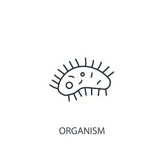 Ikona linii koncepcja organizmu. prosta ilustracja elementu. koncepcja organizmu zarys symbolu projektu. może być używany do internetowego i mobilnego interfejsu użytkownika/ux