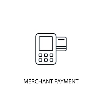 Ikona linii koncepcja płatności handlowca. prosta ilustracja elementu. płatności handlowca koncepcja symbol zarys projektu. może być używany do internetowego i mobilnego interfejsu użytkownika/ux
