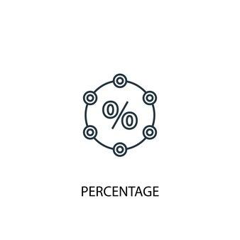 Ikona linii koncepcja procent. prosta ilustracja elementu. procent koncepcji konspektu symbol projektu. może być używany do internetowego i mobilnego interfejsu użytkownika/ux