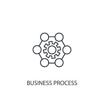 Ikona linii koncepcja procesu biznesowego. prosta ilustracja elementu. projekt symbol zarys koncepcji procesu biznesowego. może być używany do internetowego i mobilnego interfejsu użytkownika/ux